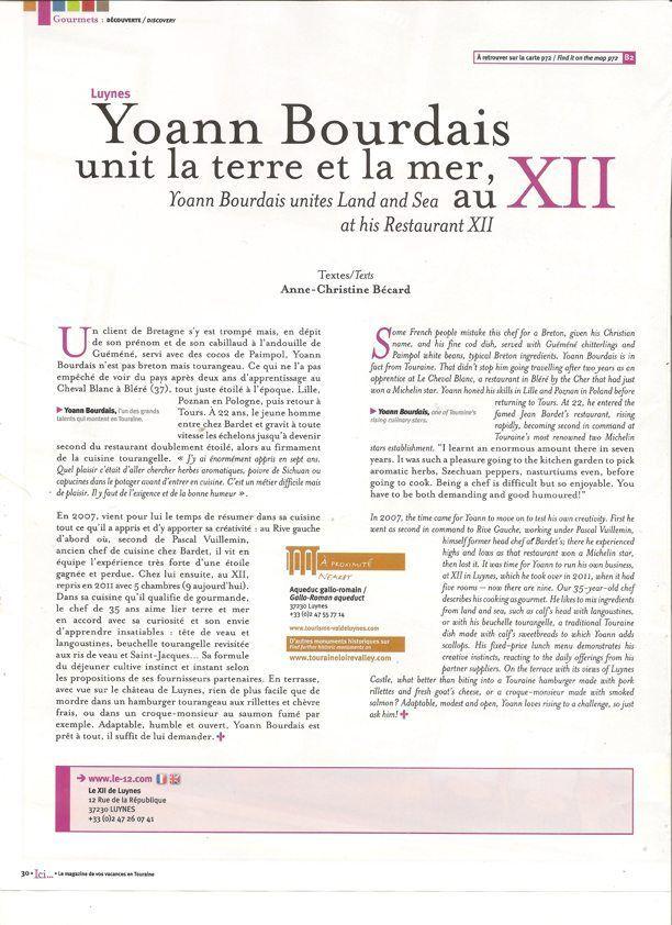 Ici Magazine Touraine 2014 - Chef Yoann Bourdais, Restaurant Le XII de Luynes, Loire Valley, France