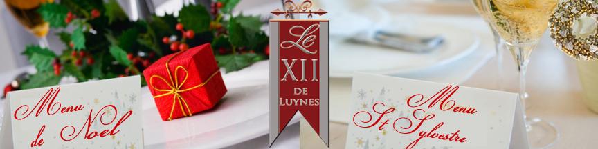 Menu de Noel et du Nouvel An Restaurant Le Xii-Douze de Luynes, pres de Tours, Touraine, Loire Valley